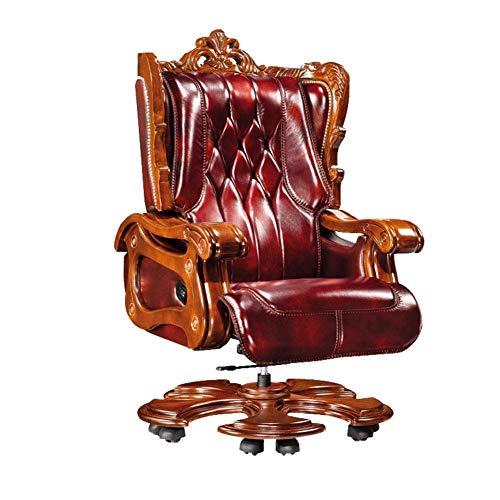 WZC Silla de jefe de lujo, silla de presidente de oficina de cuero Silla reclinable para computadora Silla ejecutiva para el hogar Sillón reclinable Sillas gerenciales Altura girato