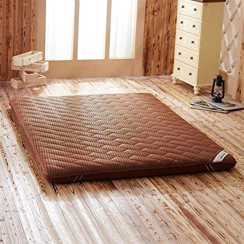 LoveGlass Japanese Folding Futon Pad,Reversible Quilted Breathable Soft Furniture Thicken Floor Mat,Tatami Mattress Topper Brown 120x190x9cm(47x75x4inch)