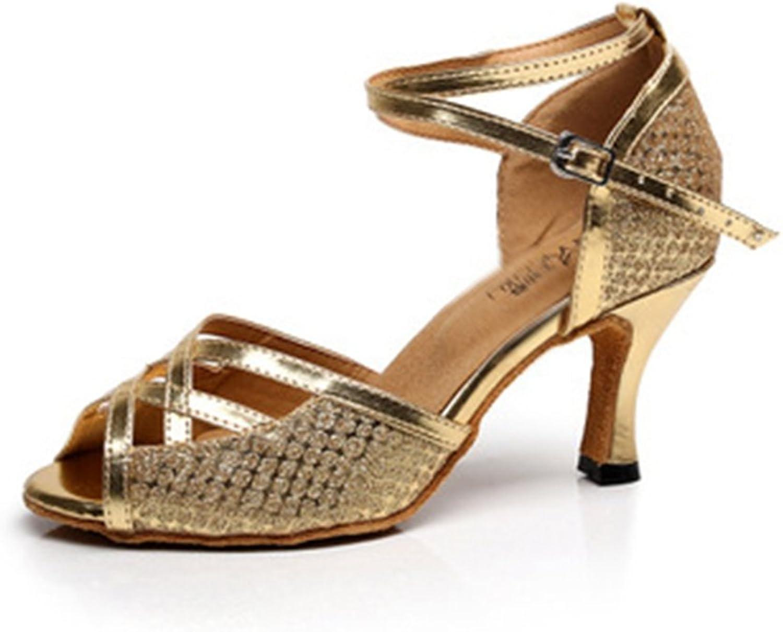 GIY Women's Glitter Latin Salsa Tango Heel Dance Sandals Morden Ballroom Wedding Party Dancing shoes