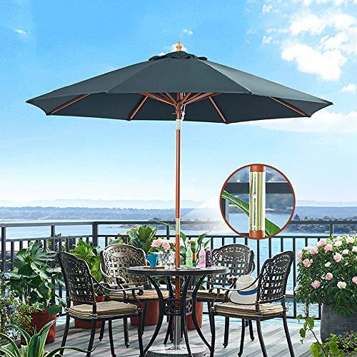 Parasol para Balcón,sombrilla De Mesa De Mercado Al Aire Libre,para Jardín Césped Patio Piscina,8 Costillas De Madera Maciza,Verde Oscuro (Base No Incluida)