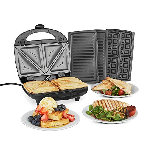 VonShef 3-in-1 Sandwich Toaster, Waffle Maker & Grill - Toastie Maker with Non-Stick Removable Plates - Stainless Steel - 700W