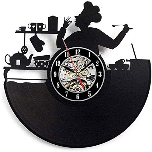 Vajilla Reloj de Pared con Disco de Vinilo Diseño Moderno Cuchara Tenedor Decoración Cocina Reloj de Vinilo Retro Reloj de Pared Decoración del hogar Mudo