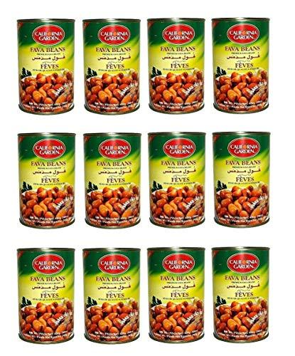 California Garden Premium Kosher Plain Fava Beans 12 Cans 16oz/450g each حدائق كاليفورنيا فول مدمس سادة