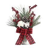 Yiuert Mini árbol de Navidad artificial de 13.8 pulgadas, decoración de árbol de Navidad de mesa en cubo de metal, pequeño árbol de Navidad en maceta para decoración interior y exterior