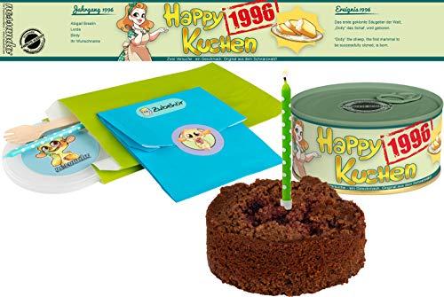 Happy Kuchen   Kuchen in der Dose   Personalisiert mit Wunsch- Geburtsjahr, Namen und Geschmack   Geburtstagsgeschenk   Geschenk   Geschenkidee (Schoko-Kirsch, Geburtsjahr 1996)