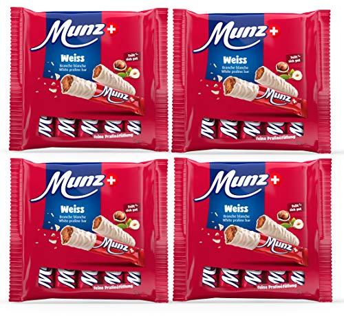 4 x 5 Munz Schoko Riegel Weiße Schokolade | 20 Schweizer Schokoladenriegel | Original Prügeli | Branches | 460 g Praliné aus der Schweiz
