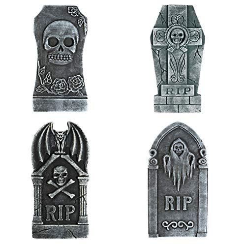 STOBOK Decoraciones de Piedra Sepulcral de Halloween Lápida Realista Reutilizable Decoraciones Y Accesorios de Patio de Casa Embrujada 4 Piezas
