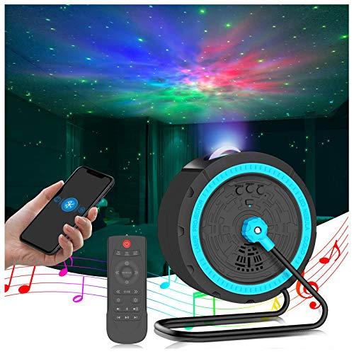 LED Sternenhimmel Projektor,Baby Nachtlicht 16 Beleuchtungsmodi und Timer Aufhängbar 360° Drehen Bluetooth Projektor Lampe Aurora-Effekt Stimmungslicht für Geburtstag Party Zimmer Weihnachten