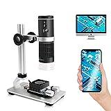 Cainda WiFi Digitalmikroskop für iPhone Android Phone Mac Windows HD 1080P Videoaufzeichnung 50-1000-fache Vergrößerung Drahtloses tragbares Mikroskop mit verstellbarem Metallständer und Tragetasche