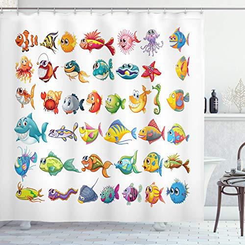 ABAKUHAUS Fisch Duschvorhang, Cartoon Sea Kreaturen, Wasser Blickdicht inkl.12 Ringe Langhaltig Bakterie & Schimmel Resistent, 175 x 180 cm, Multicolor