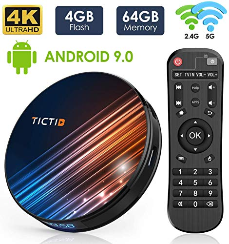 Android 9.0 TV Box 【4G+64G】 RK3318 Quad-Core 64bit Android TV Box, Wi-Fi Dual 5G/2.4G, BT 4.0, 4K*2K UHD H.265, USB 3.0 Smart TV Box