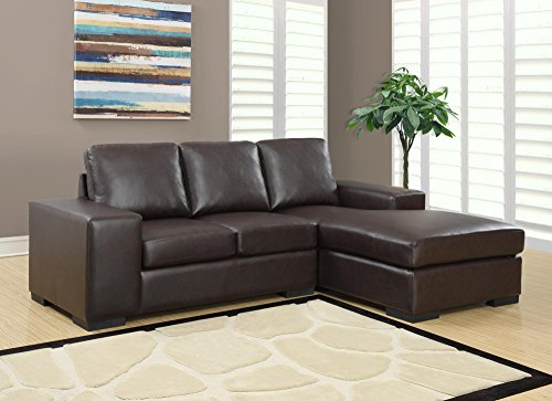 Monarch Specialties Dark Brown Bonded Leather/Match Sofa Lounger, 37-Inch