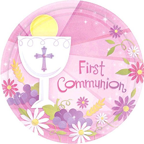 "amscan First Communion Round Dessert Paper Plates, Pink, 7"""