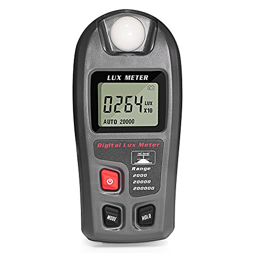 Dostyle Light Meter, Digital Illuminance Lux Meter with LCD Display (Range: 0.1~200,000 Lux and 0.01~20,000 Fc)