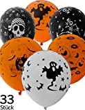 HomeTools.eu® - 33 Stück Halloween Luft-Ballons, Grusel Gespenster Kürbis Toten-Kopf Design, 30cm...