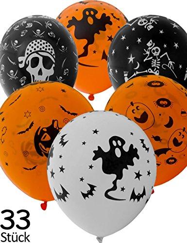 HomeTools.eu® - 33 Stück Halloween Luft-Ballons, Grusel Gespenster Kürbis Toten-Kopf Design, 30cm Ballons, 33er Set