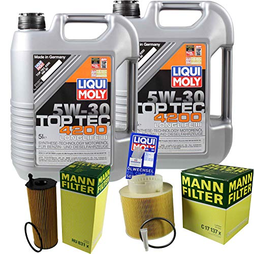 Preisvergleich Produktbild Filter Set Inspektionspaket 10 Liter Liqui Moly Motoröl Top Tec 4200 5W-30 MANN-FILTER Luftfilter Ölfilter
