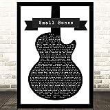 EaYanery Small Bones - Canción de guitarra en blanco y negro con cita de letra de canción artística con impresión de letras de 35 x 28 cm con marco