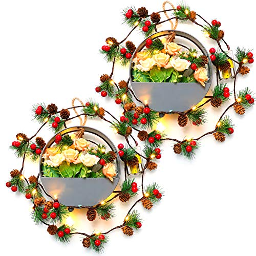 VVolf Christmas Garland with Lights, Christmas Strand Lights for Mantle Battery Operated, 6.5FT Garland String Lights Indoor, Christmas Garland Decorations with LED Red Berry Pine Cone 2pack