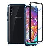 Galaxy A70 Hülle, Galaxy A70 Hülle Magnetic Phone Hülle, Magnetic Adsorption Technology Metallhülle mit gehärtetem Glas auf der Rückseite, nicht auf der Vorderseite für Samsung Galaxy A70 (Blau)