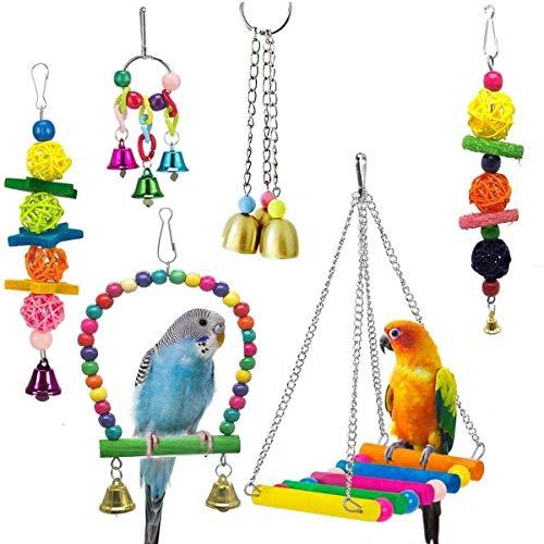 Fhdpeebu 6 Packung Vogel Schaukel Spielzeug Papagei HHnge Matte Bell Spielzeug Für Wellensittiche, Sittiche, Nymphensittiche, Conures Und Liebes VVgel