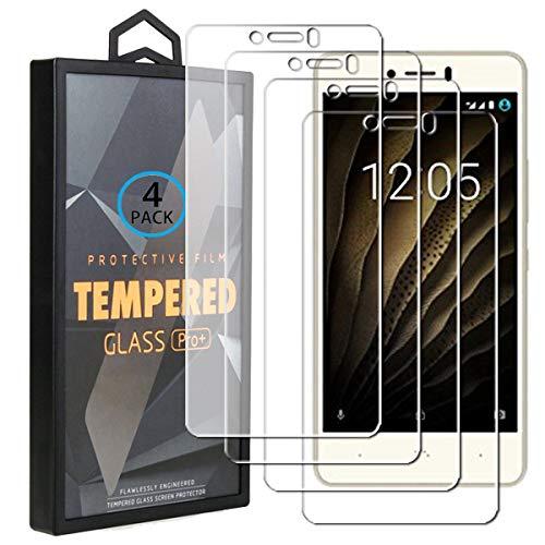 Ycloud 4 Pack Vidrio Templado Protector para BQ Aquaris U/U Lite/U Plus, [9H Dureza, Anti-Scratch] Transparente Screen Protector Cristal Templado para BQ Aquaris U