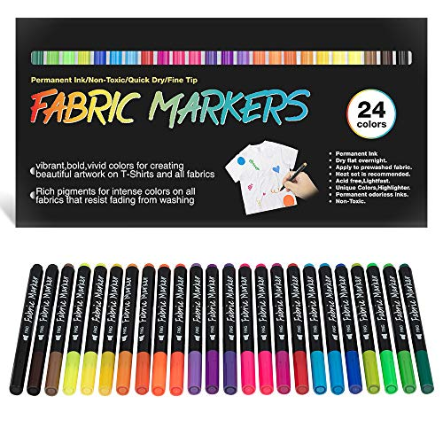 Fabric Markers Permanent for T Shirts Baby Clothes Onesies Bibs White Pillow Tote Canvas Bags Clothing - No Bleed - Fine Tip - Child Safe & Non Toxic. JR.WHITE Fabric Paint Pens Set of 24 Colors