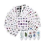 Gwolf Adesivi per unghie Fiori, Adesivi per unghie autoadesivi, Adesivi per nail art, Decorazioni per nail art Punte per unghie Decalcomanie per donne Ragazze Ladies Nails Art Design (24 fogli)