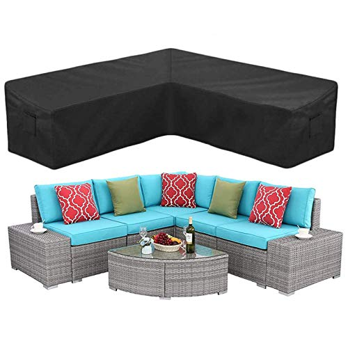 ZHZX L-Shaped Sectional Sofa Covers, Outdoor Patio Couch Cover Garden Furniture Protector Waterproof and Dustproof Cover,300x300x98cm