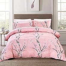 Juego de sábanas dobles florales de 3 piezas con cierre de cremallera Funda nórdica con diseño de ciruela rosa con 2 fundas de almohada Juego de funda nórdica de microfibra suave 200x200cm