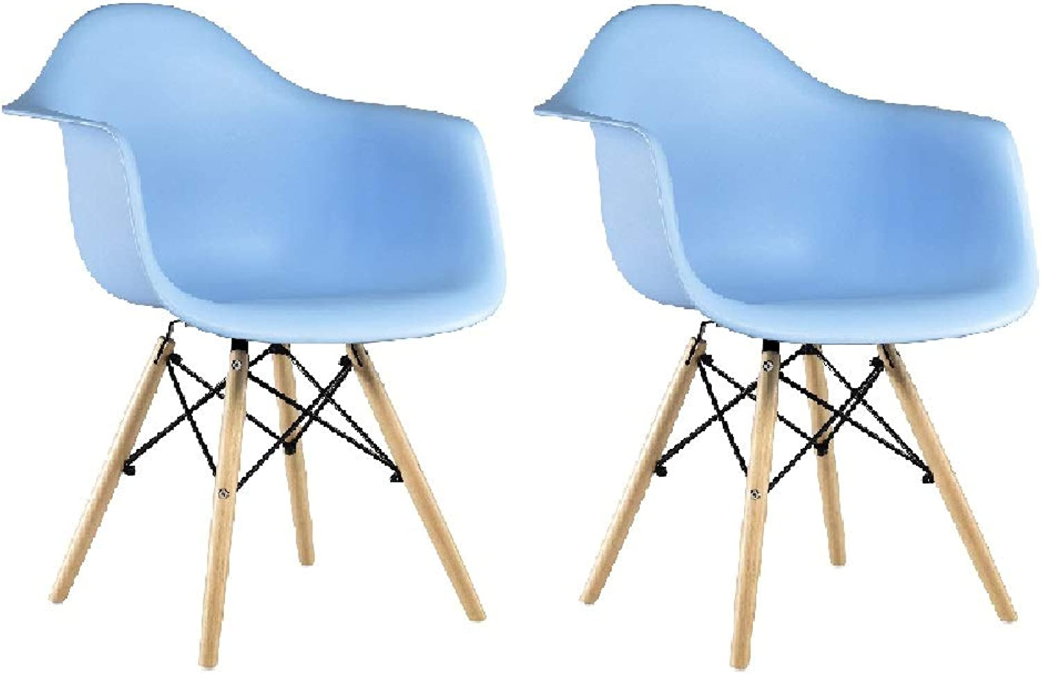 KIMCO Furniture Chair Eames Style DAW (Set of 2) - Beech Wood Legs Eiffel Dining Room Chair - Lounge Chair Arm Chair Arms Chair Seats Wooden Wood Leg Wire Leg Dowel Leg (bluee)