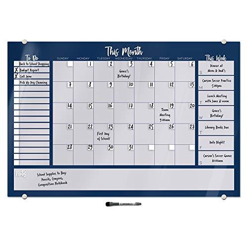 ホワイトボード オールインワン カレンダー コマンドセンター | 細い先端のホワイトボードマーカー付き | 24インチ x 36インチ (ネイビー)