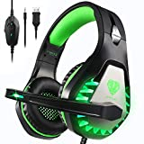 xbox one platinum - Pacrate Stereo Gaming Headset for PS4, Xbox One, PC with Noise Cancelling Mic - Surround Sound Gaming Headphones - Soft Memory Over Ear PS4 Headset with LED Light for Mac, Laptop