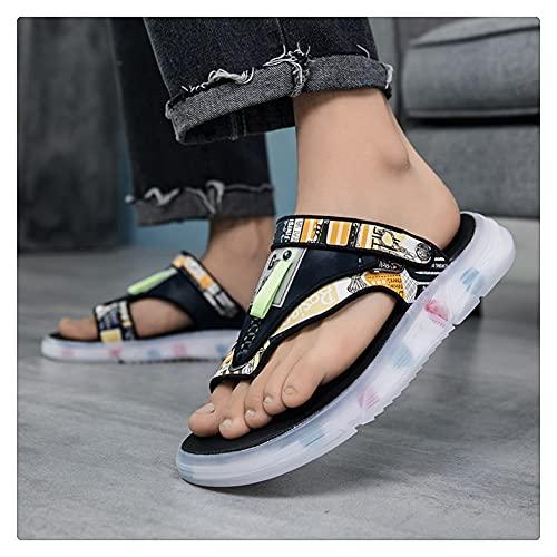 NMJKH Zapatillas De Cuero Para Hombre, Zapatos De Verano, Chanclas Informales Para Exteriores, Toboganes De Playa De Moda Plana Antideslizantes Para Interiores (Color : B, Size : 41Yards)