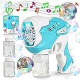 2021Aktualisiert Seifenblasenmaschine Raumkapsel, Automatisch Seifenblasen Pistole Spielzeug für Kinder mit 2 Seifenblasenflüssigkeiten LED Beleuchtung Musik Giant Bubble, Hochzeit,Party,Outdoor Spiel