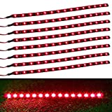 XT AUTO 8pcs 12V Super Bright 30cm 15 LED Flexible Waterproof LED Strip light For Car Interior & Exterior Decoration DRL Day Running Light Or Boat Bus Garden
