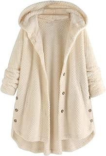 E-Scenery Women Hooded Coat Plus Size Fleece Irregular Long Sleeve Button Tops with Pocket