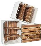 CHICCIE 3 Set Holzkiste Grete Geflammt Weiß - 2X Kurzes Regal Obstkiste Dekokiste Weinkiste Ablage 50x40x30cm Gehobelt