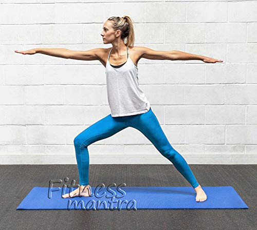 Fitness Mantra® Blue Yoga Mat With Hanging/Carrying Strap for Gym Workout and Yoga Exercise Available in Large Size with 4 mm Thickness , Anti-Slip Yoga Mat for Men & Women Fitness |Qnty.-1 Pcs.|Get a Yoga Mat at Affordable Rate|
