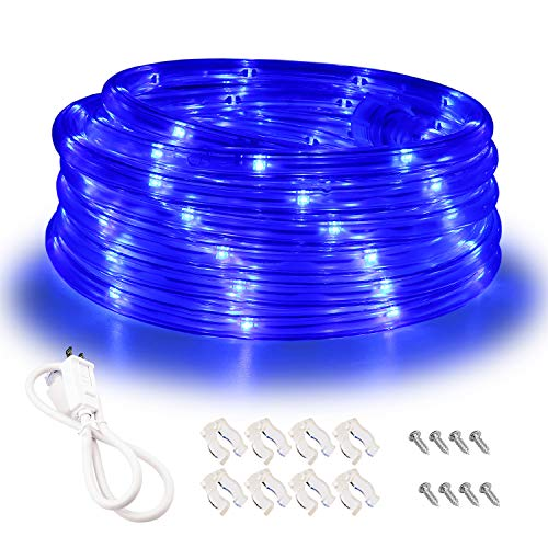 Areful Blue LED Lights, 16ft Rope Lights, Connectable and Flexible Blue Strip Lighting, High Brightness 3528 LEDs with Clear PVC Jacket, Waterproof Weatherproof for Indoor Outdoor Use