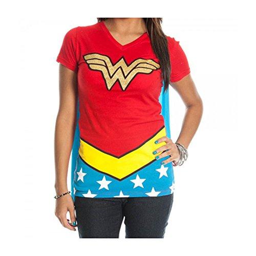 Dc Comics Women's Dc Comics Wonder Woman Glitter Juniors V-Neck Tee Large Red