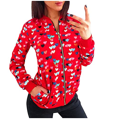 FMYONF Bomberjack voor dames, lente, herfst, dun, zomer, bloemenpatroon, lange mouwen, bovenstuk, overgang, sportjas, ritssluiting, opstaande kraag, jas, outwear, korte jas, rood, L