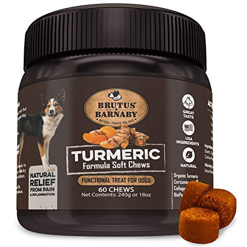 BRUTUS & BARNABY Turmeric for Dogs- Organic Turmeric with Curcumin, Soft Chews with Collagen and Bioprene Provides Hip and Joint Support Reduces Inflammation from Arthritis