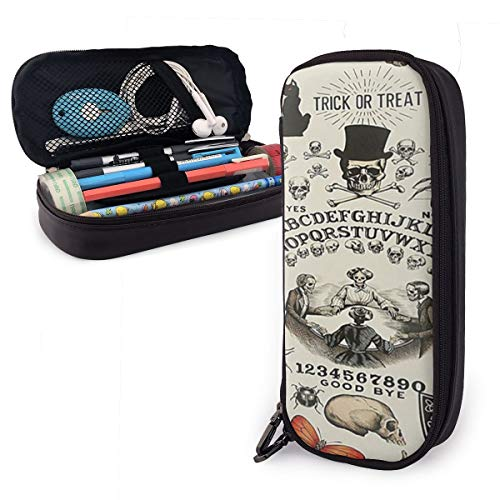 NiYoung Adults Kids Big Capacity PU Leather Pencil Pen Case Holder Bag Pen Organizer Pouch Stationery Box for School Office Travel Trick Or Treat Ouija Board Skulls Crossbones