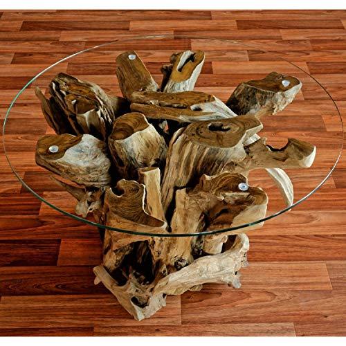 Wurzelholz Couchtisch Beistelltisch IKAL aus Massivholz inklusive Glasplatte 80 cm | Tisch in Handarbeit Altholz Holz rustikal |  Wurzelholz-Möbel in Handarbeit | Das Besondere Entdecken