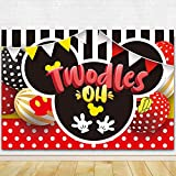 Oh Twodles 2nd Mouse Theme Birthday Party Photography Backdrop Cartoon 2nd Party Background Cake Table Indoor Outdoor Decorations 71 x 49 inch