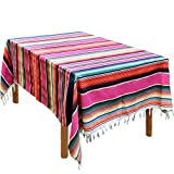 59 x 84 Inch Mexican Blanket Striped Tablecloth Large Square Fringe Cotton Mexican Serape Tablecloth for Mexican Party Wedding Decorations Outdoor Table Cover (Pink)