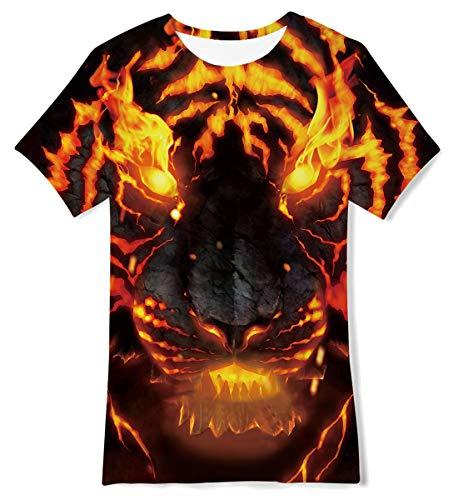 Jubestar Tiger T-Shirts for Boys 3D Graphic Print Flame Tee Shirts Summer Short Sleeve 10-12 Years