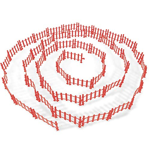 YUCAN 50PCS Toys Fence Horse Corral Fencing Accessories Playset, Mini Plastic Garden Fence Toys Farm Animals Horses Figurines, Fence Panels, Cake Toppers for Kids (S)