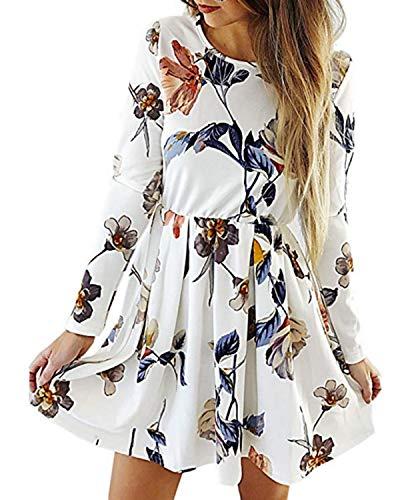 Style Dome Damen Sommerkleider Lange Ärmel Schulterkleid A-line Mini Kleid Blumenmuster Kurzes Strandkleid 3 Weiß S